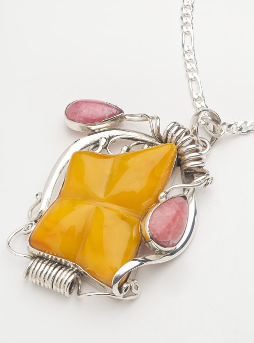 Amber & Rhodochrosite .925 sterling silver pendant