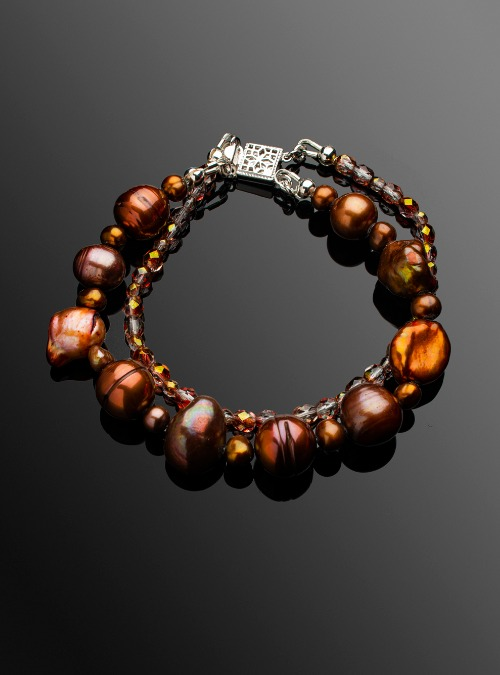Copper freshwater pearl and Czech glass bead double strand bracelet
