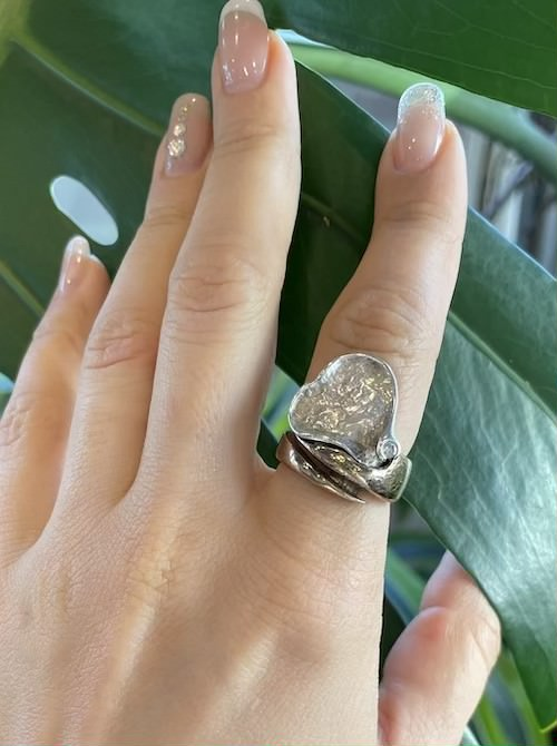 Vintage bronze silver adjustable ring