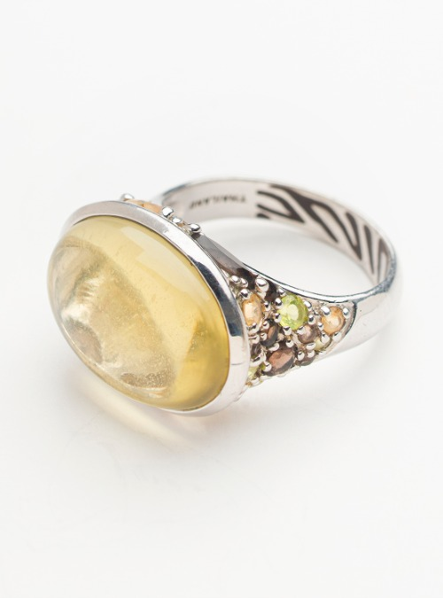 David Sigal Sterling Silver citrine cocktail ring
