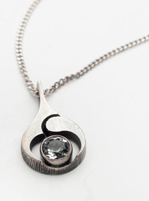 Vintage Karl Laine 1970's sterling silver & Finnish Rock Crystal pendant