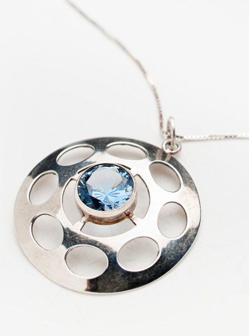 Sterling Silver pendant with blue crystal