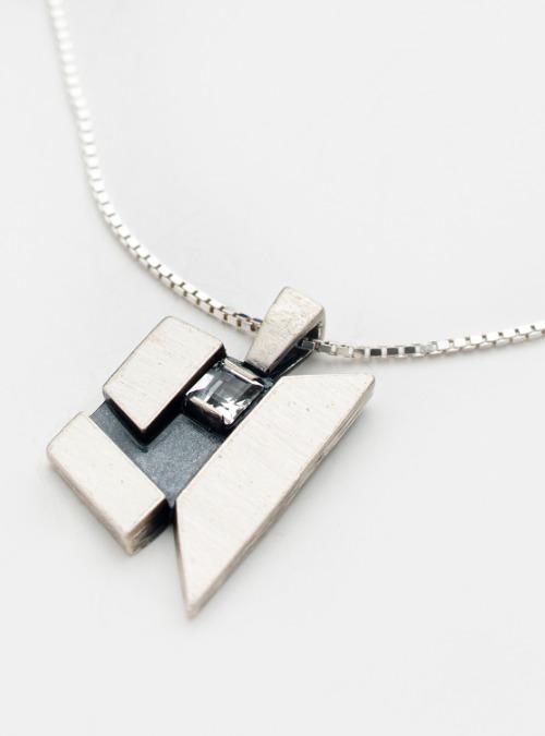 Vintage sterling silver & crystal necklace by Ivan Klovborg