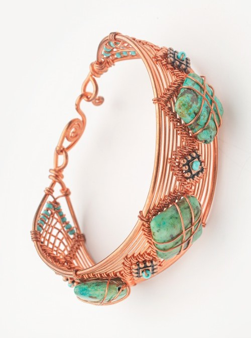Copper wire turquoise bracelet