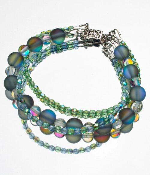 Triple strand Aura Quartz bracelet