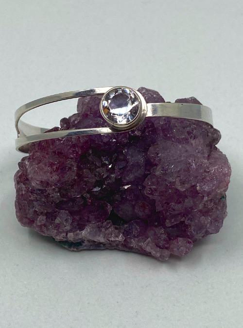 Erik Granit Vintage 1970s sterling silver & crystal bangle