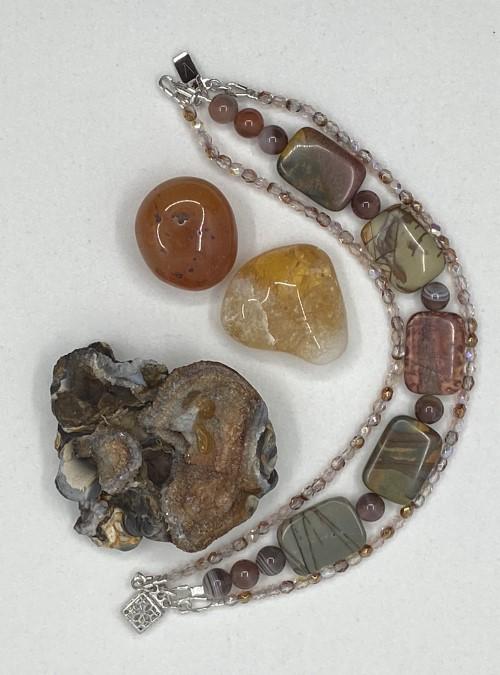 Jasper & Agate triple strand bracelet