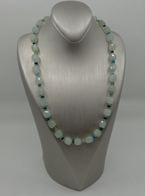 Aquamarine & Roman Glass bead necklace