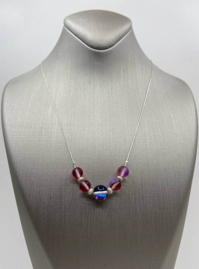 Red & Mermaid Aura Quartz & Stardust Sparkler sterling chain