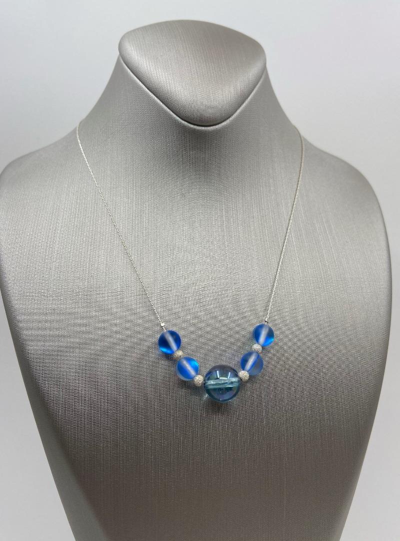 Dark Blue Aura Quartz & Stardust Sparkler sterling chain