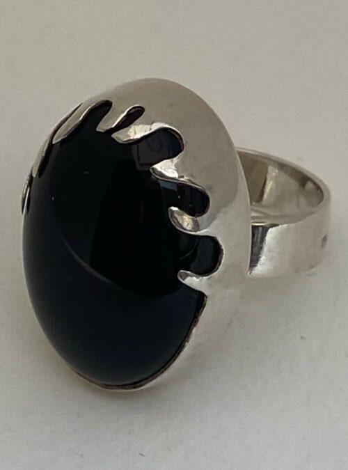 Sweden Vintage SS Onyx bold ring