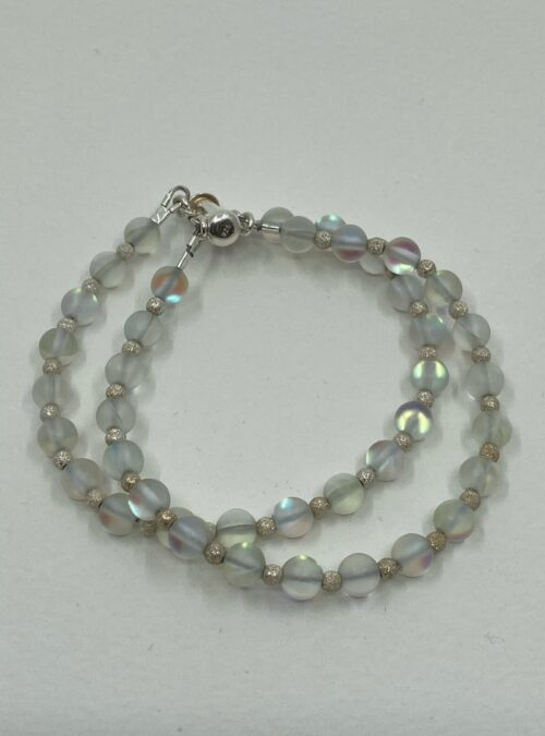 "Matte Aura Quartz ""Stardust Sparkler"" Double Strand bracelet"